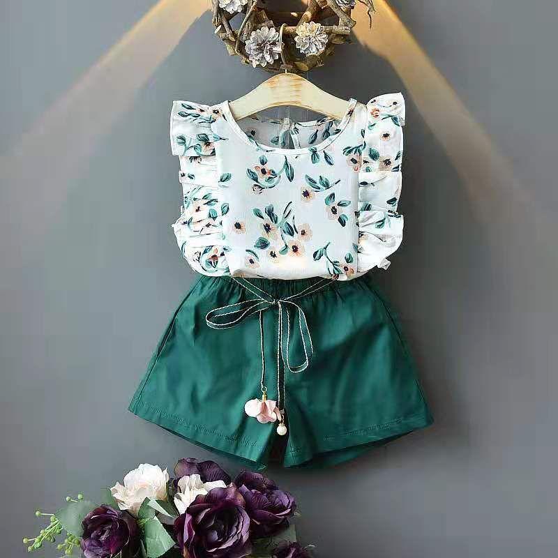 çocuklar tasarımcı kıyafetleri kızlar yaz giyim pamuk küçük çiçek yelek ve şort orta ve küçük çocuklar
