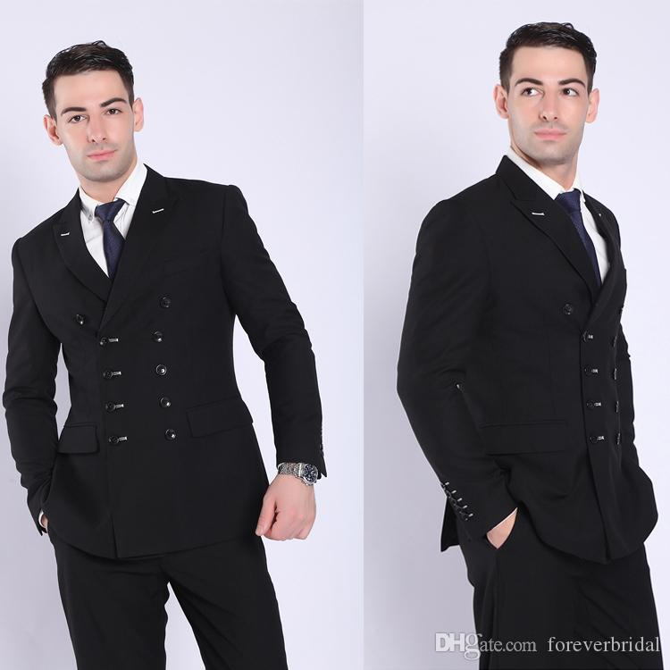 Latest Design Black Men Suits Double-Breasted Groom Wear Wedding Tuxedos Slim Fit Formal Blazers Custom Made (Jacket+Pants)