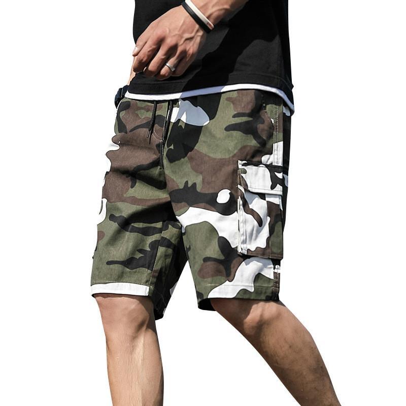 Algodón bolsillo del Mens del verano al aire libre del camuflaje de carga cortocircuitos más el tamaño mitad pantalones ocasionales de los mediados de cintura con cordón flojo Pantalones cortos Peto 7XL
