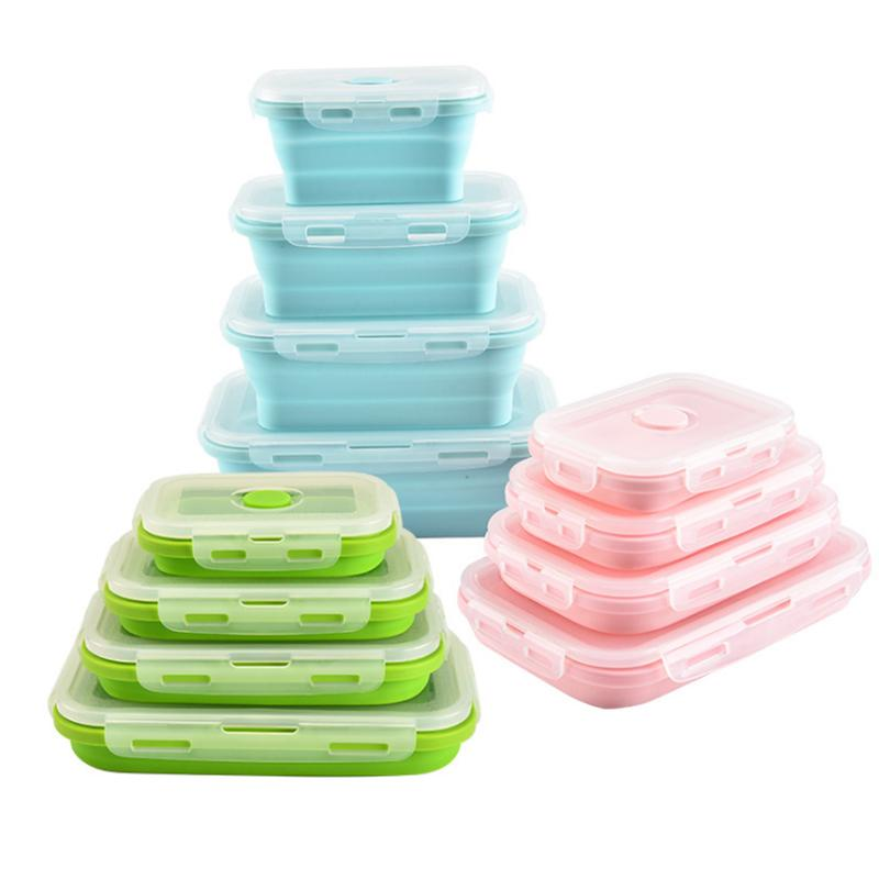 Silicone dobrável Lunch Box Food Storage Container Bento BPA Microwavable portátil Picnic Camping Retângulo Box Outdoor