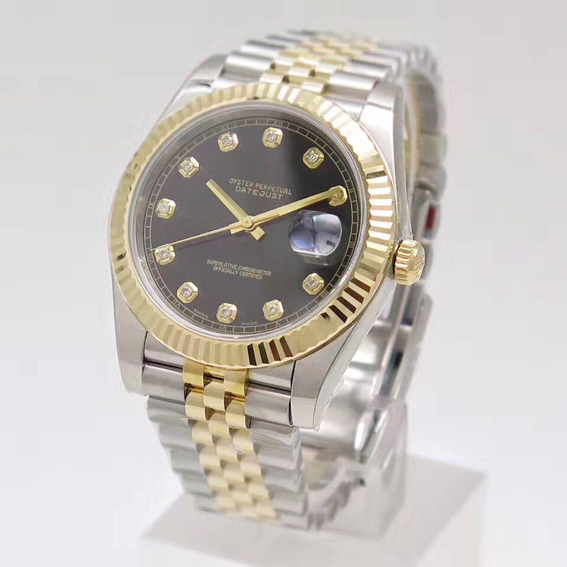 حركة Datejust التلقائية الماس نغمتين الأسود الهاتفي الرئاسي حزام الفولاذ المقاوم للرجال الصلب الساعات ساعة اليد