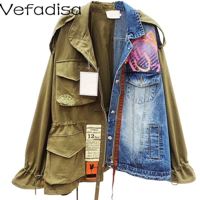 Vefadisa Large size Denim Jacket 2020 Autumn Women Drawstring Jacket Women Denim Female Fashionable Coat LHX181