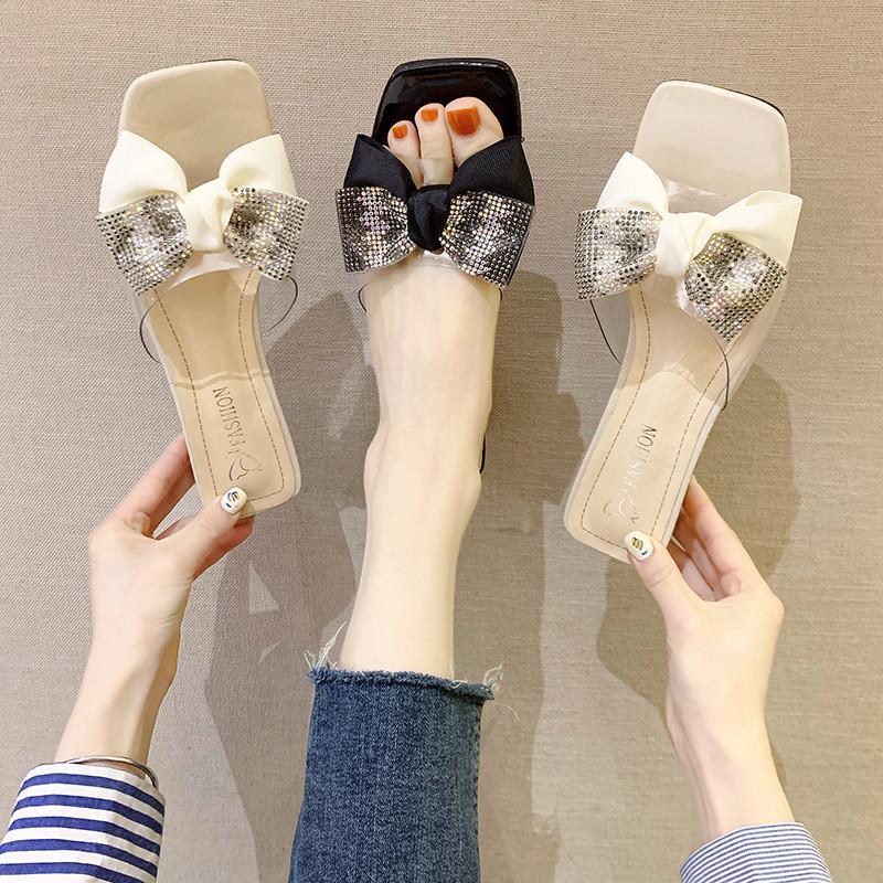 Mariposa del nudo de los deslizadores de los zapatos ocasionales de tacón cuadrado Diapositivas jalea chanclas Slipers bajo de las mujeres del bloque del brillo de Verano 2020