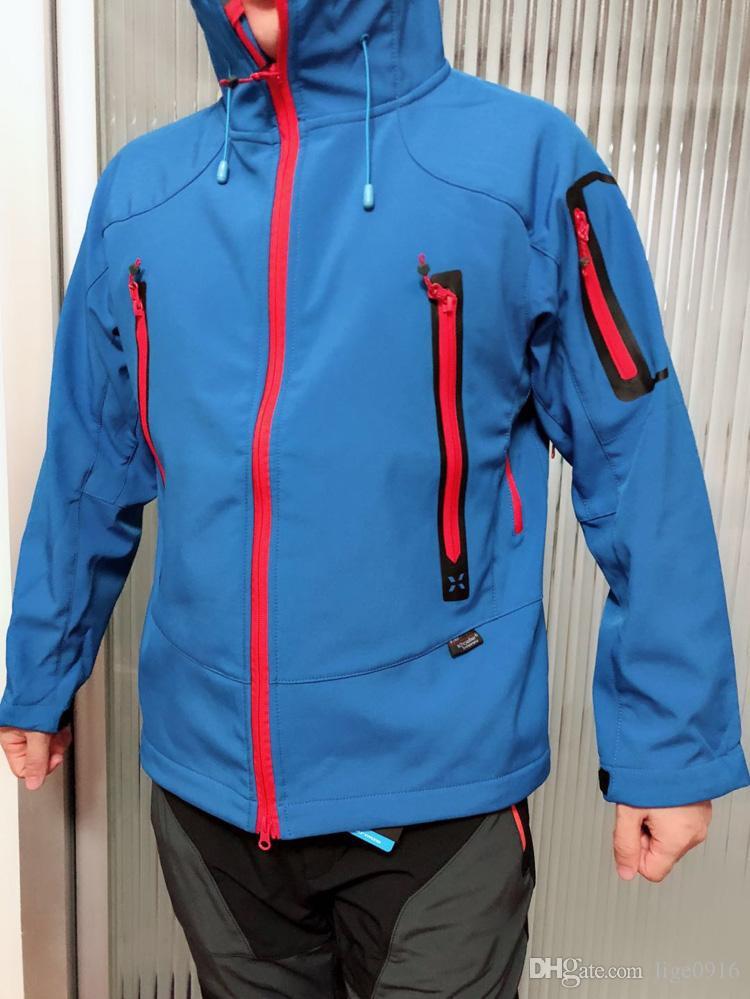 Trasporto libero di marca New Mens Windstopper impermeabile caldo primavera autorm softshell giacca con cappuccio all'aperto