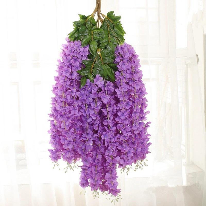 12pcs / set artificiale Wisteria fiore di seta elegante Wisteria vite del fiore denso per la decorazione da giardino di nozze festa feste HHA1143
