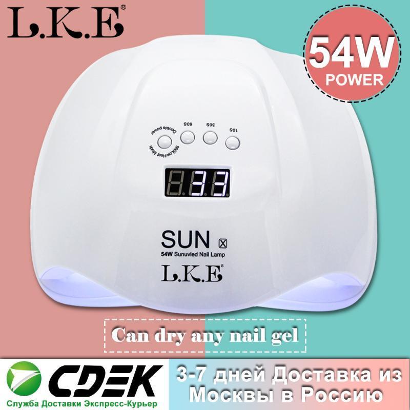 36 LED'ler Çift Manikür Tırnak Kurutucu İçin Jel Lehçe Lambası 30s / 60s / 90s Oto Sensör Manikür Araçları ile LKE 54W LED UV Nail Lambası