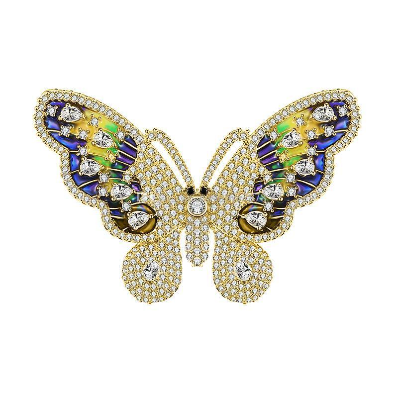 Colorido Bonito Nobre Cobre Broche Borboleta Colorida de Prata de Ouro Pode Escolher Mochila Vestido de Jóias Melhor Presente de Alta Qualidade