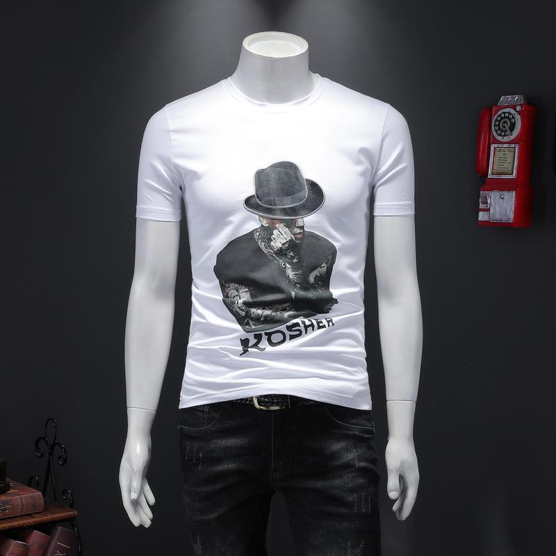 2020 hochwertige Männer Kurzarm Sommer Art und Weise T-Shirt beiläufige bequeme Rundhals T-Shirt Modekleidung JS8B