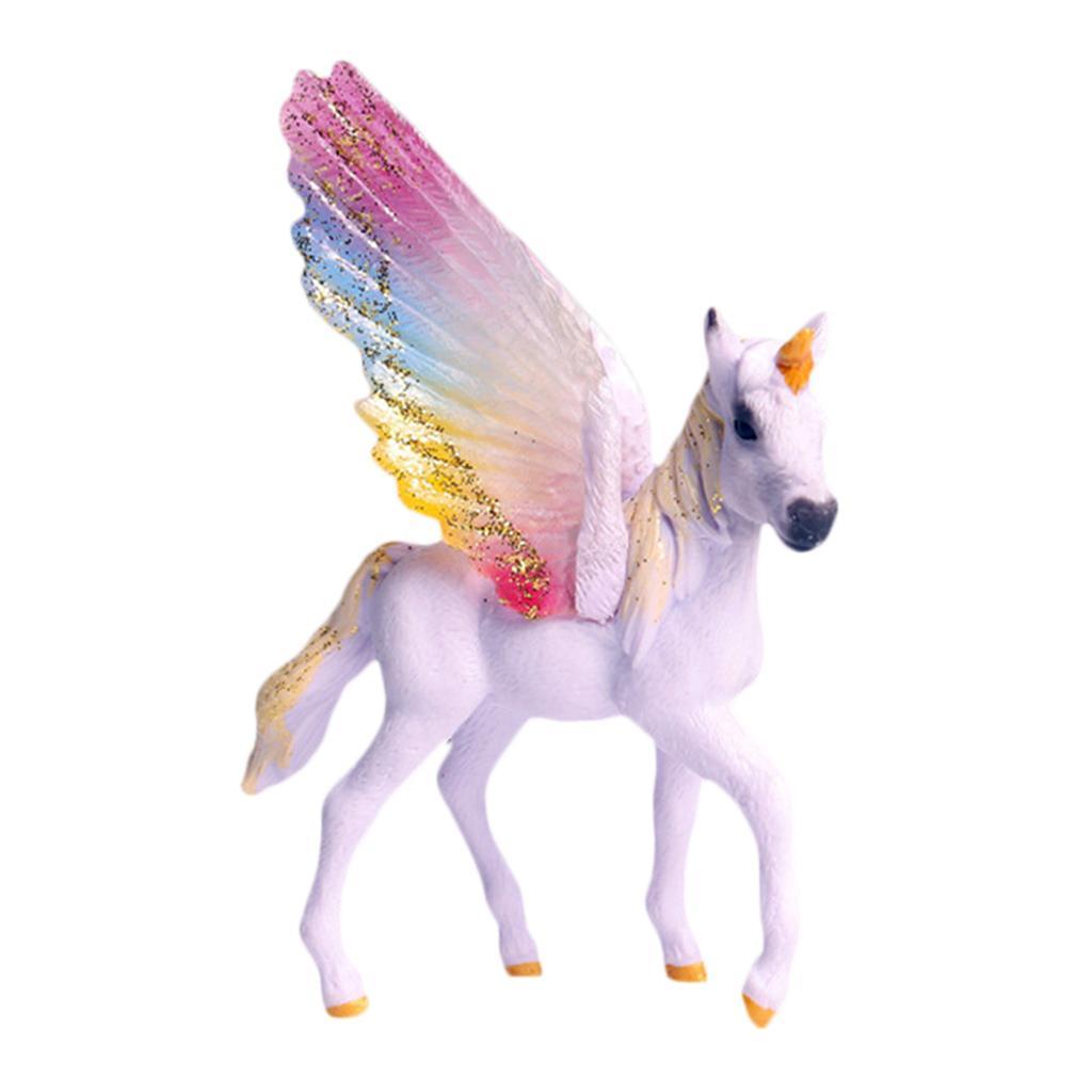 Fantasy Horse Model Mythical Pegasus Figures Ornaments Toys Rainbow