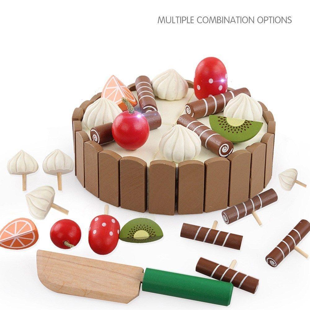 خشبية الطفل مطبخ ألعاب اللعب بتقمص الأدوار قطع كعكة اللعب الغذاء لعب الاطفال الخشبية الفاكهة الطبخ هدايا عيد الميلاد لعبة المصالح Y200428