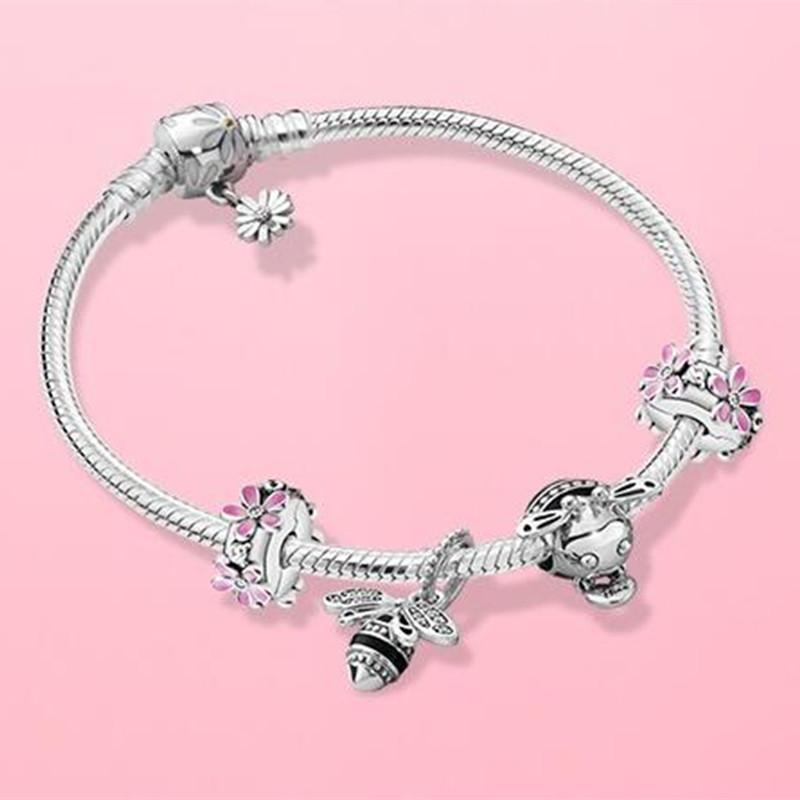 100 925 Sterling Silver Moments Daisy Flower Clasp Snake Chain Bracelet Fits For European Pandora Charms And Beads Sets 10 From Charmspandora 86 3 Dhgate Com