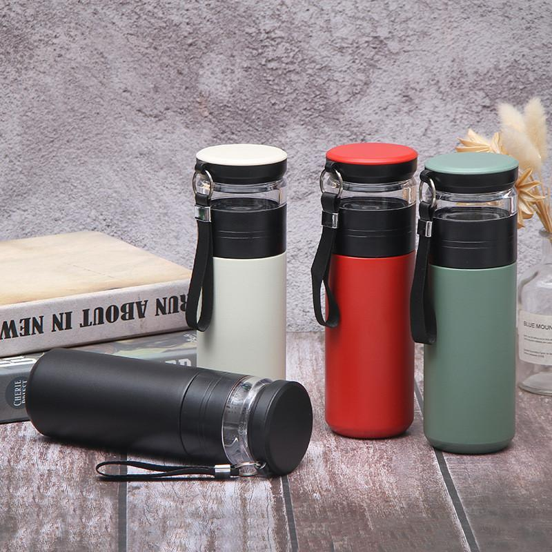 Stainless Steel Tea Thermos Vacuum Hot Insulated Water Bottle Portable Outdoor Tea Water Bottle with Rope DHB504