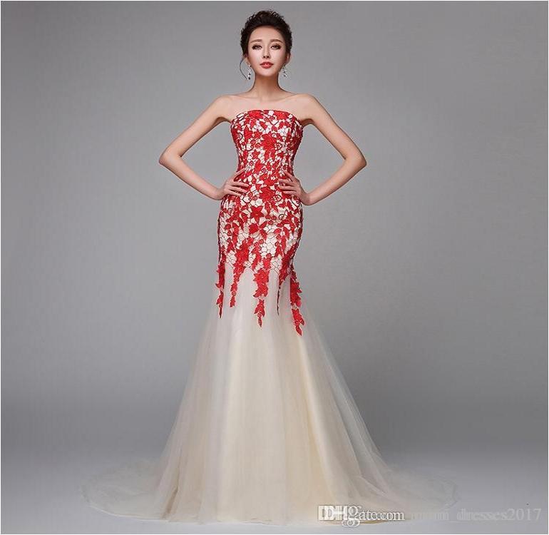 Alta Qualidade New Bra Champagne Longo Partido Prom Vestidos Moda vermelho do laço Fishtail slim sem mangas Vestidos