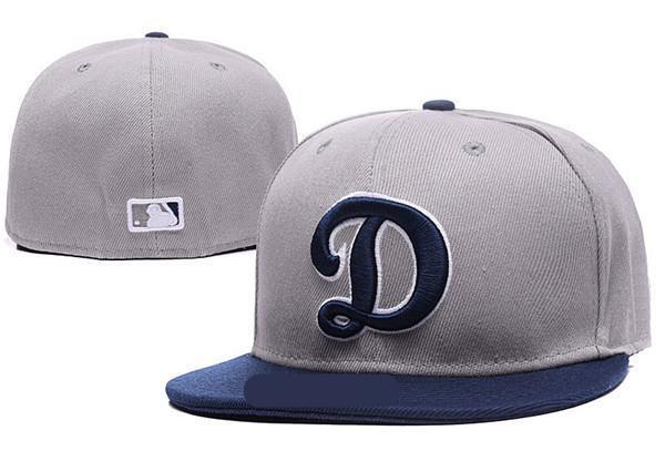 New Fashion Royal Blue fitted hat flat Brim embroiered logo fans baseball Hats size LA on field full closed