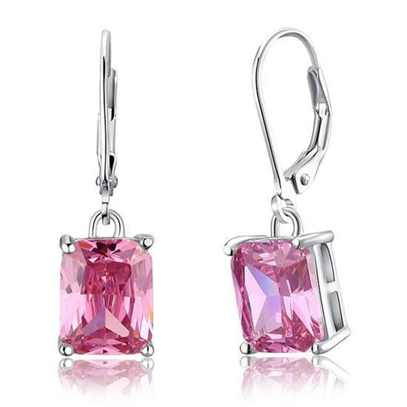Exquisite Frauen-Ohrringe baumeln Leuchter Schmuck 4 Ct Rosa Erstellt Sapphire 925 Sterlingsilber-Ohrringe