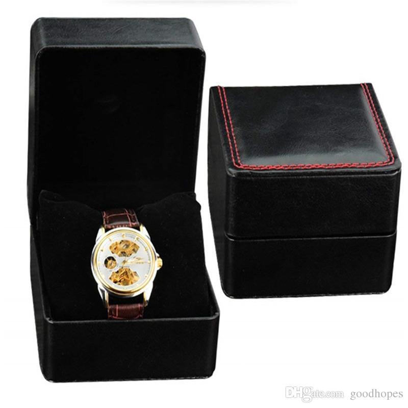 Moda Assista Boxes PU capas de couro Assista Case Bracelet Bangle Jewelry Relógio de pulso de exibição com Pillow Caixa de armazenamento