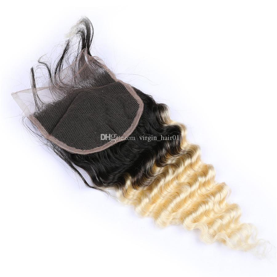 Blonde Human Hair 1b 613 Deep Wave Lace Closure Malaysian Virgin Human Hair Ombre Top Closure 1Pc For Sale