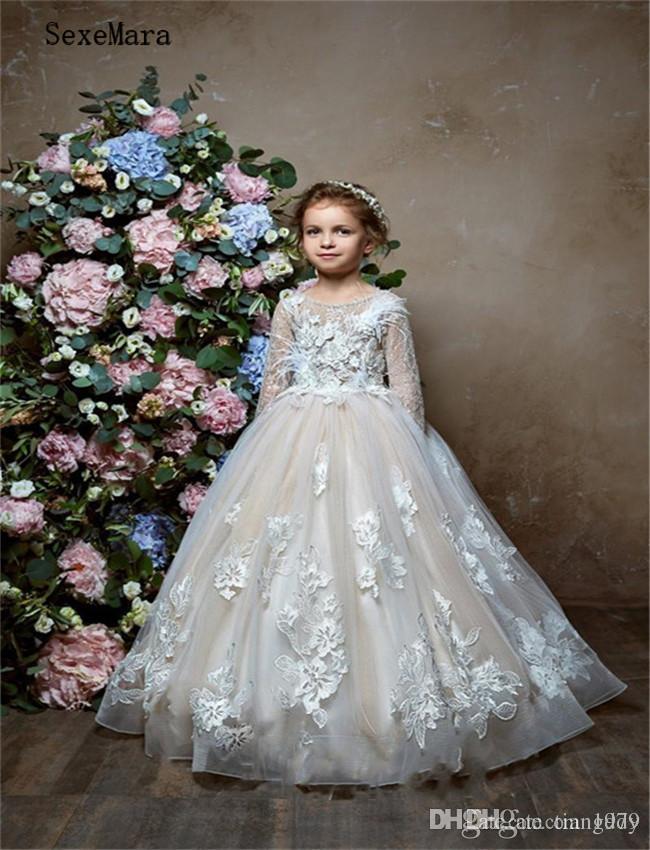 Vestidos Apliques de encaje transparente de niña de las flores de las muchachas del desfile de vestido moldeado por encargo del cumpleaños de los niños del vestido formal