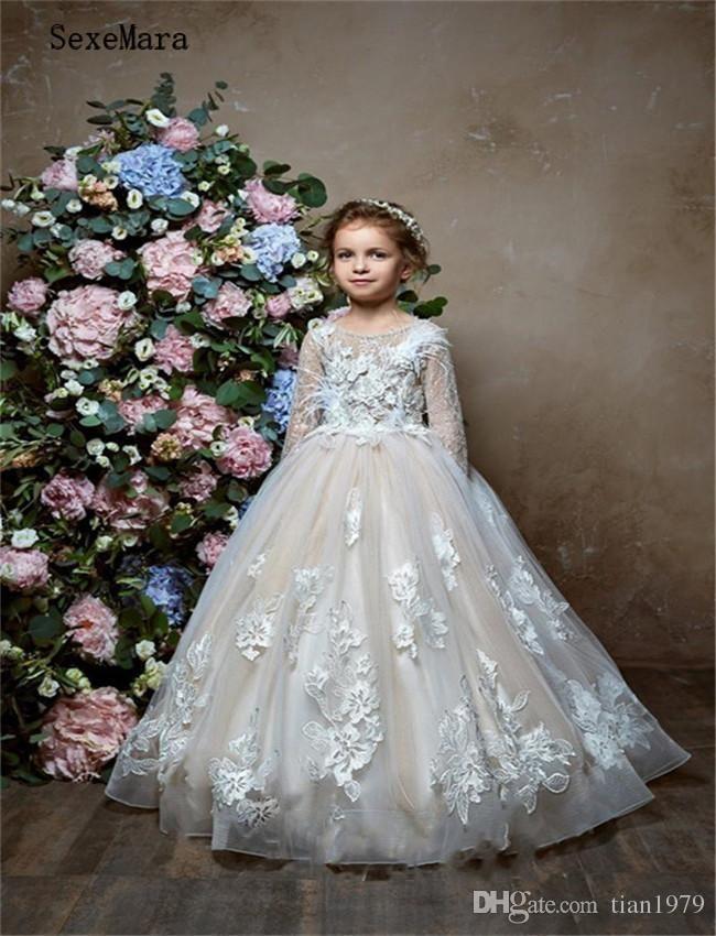Vestido de laço apliques Sheer da menina flor meninas Pageant Vestidos frisados Custom Made aniversário dos miúdos vestido formal