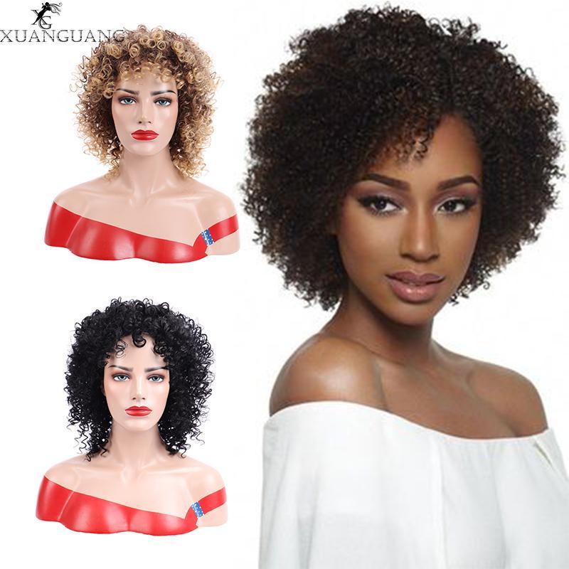 XUANGUANG вьющиеся короткие парики жаропрочных синтетических волос парики афро прическа короткие вьющиеся парик