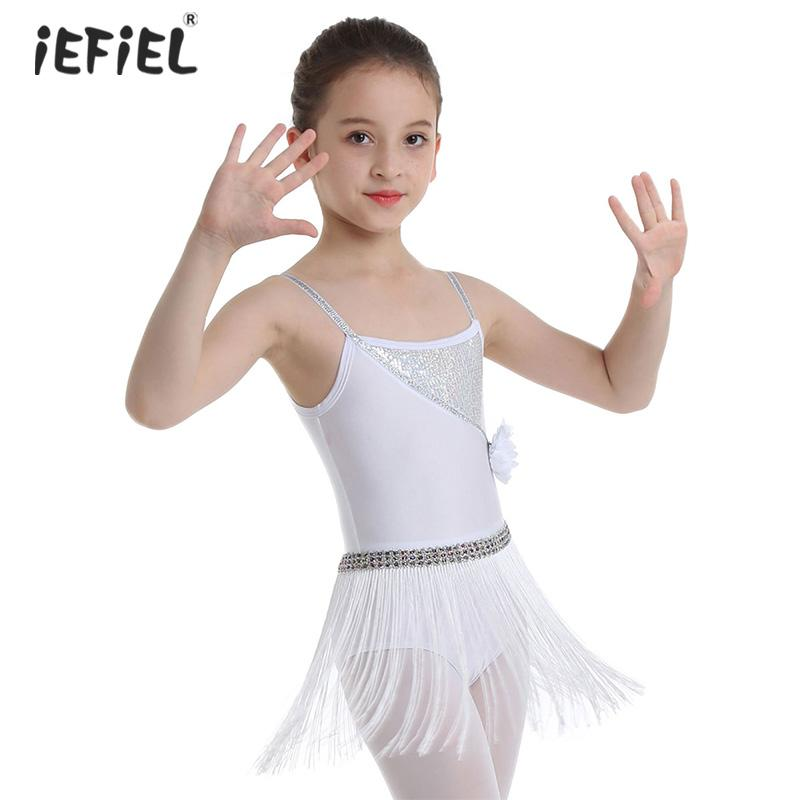 IEFIEL Enfant Filles Robe de Soir/ée Ballet Lyrique Justaucorps Danse Contemporaine Sequin Robe De Danse Latine Moderne Performance Mousseline De Soie 7-14 Ans