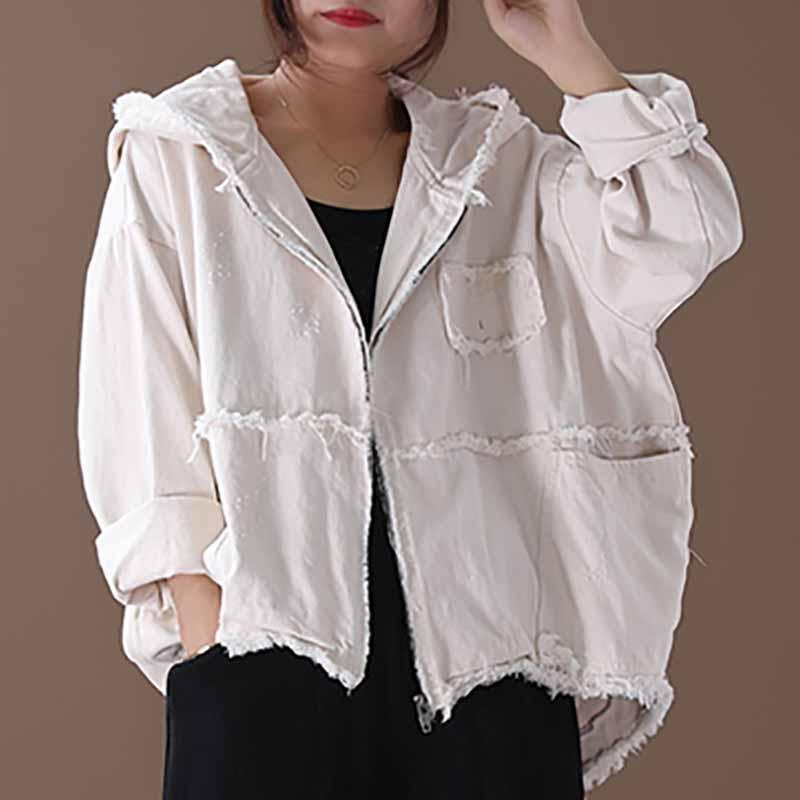 [YaLee] New Fashion 2019 Estate Autunno semplice cerniera a maniche lunghe di cucitura delle tasche irregolare Grandi Dimensioni Donne giacca cappotto A810