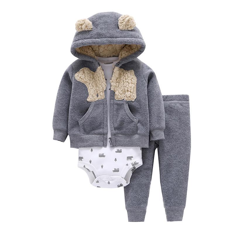 Baby Kleidung Cartoon Fleece Jacke + Body + Hose Neugeborenen Set Mädchen Outfit Herbst Winter Anzug Säuglings Kleidung Mode Kostüm J190514