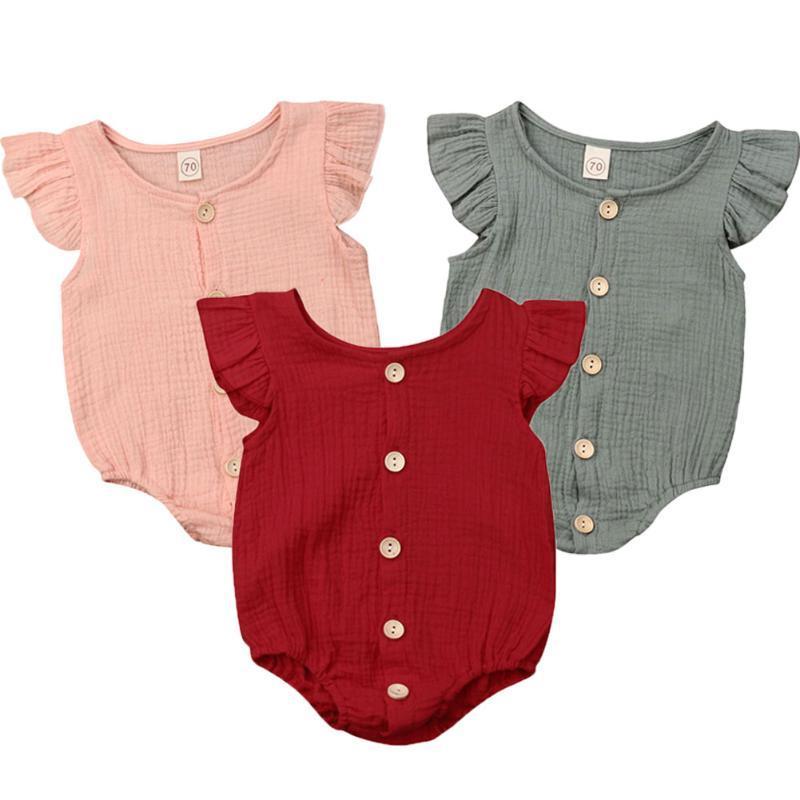 Estate solido del manicotto del pagliaccetto I neonati Button Solid Outfits Abbigliamento bambino