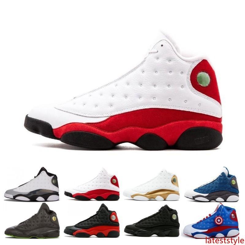 Baratos 13 13s boné e um vestido sapatos masculinos de basquete Atmosfera Grey Terracotta Blush Preto Infrared Hiper Real Hiper Chicago Mens Black Cat