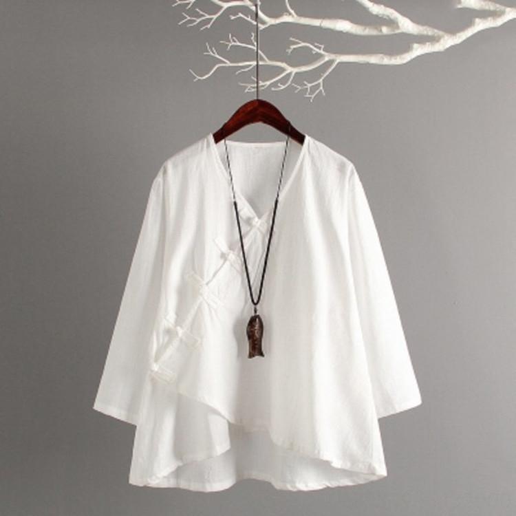Китайского стиль хлопок большого размера женщины пластина пряжки T-футболка литературной рыхлый осень Будда высшего качество чай одежда