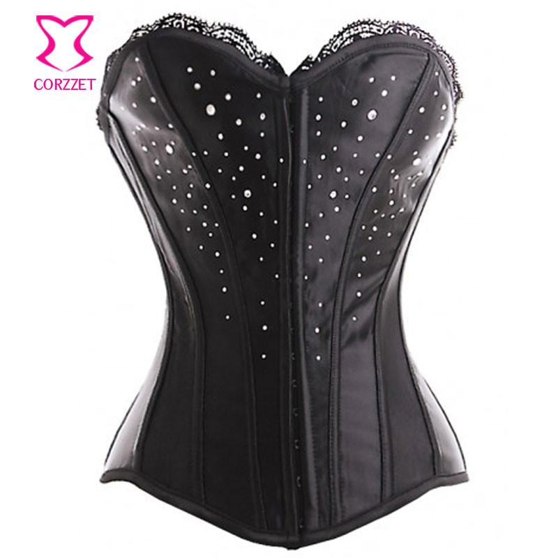 Bustiers & Corsets Sladuo Satin With Rhinestone Victorian Showgirl Corset Overbust Gothic Clothing Women Et Sexy Corsetto