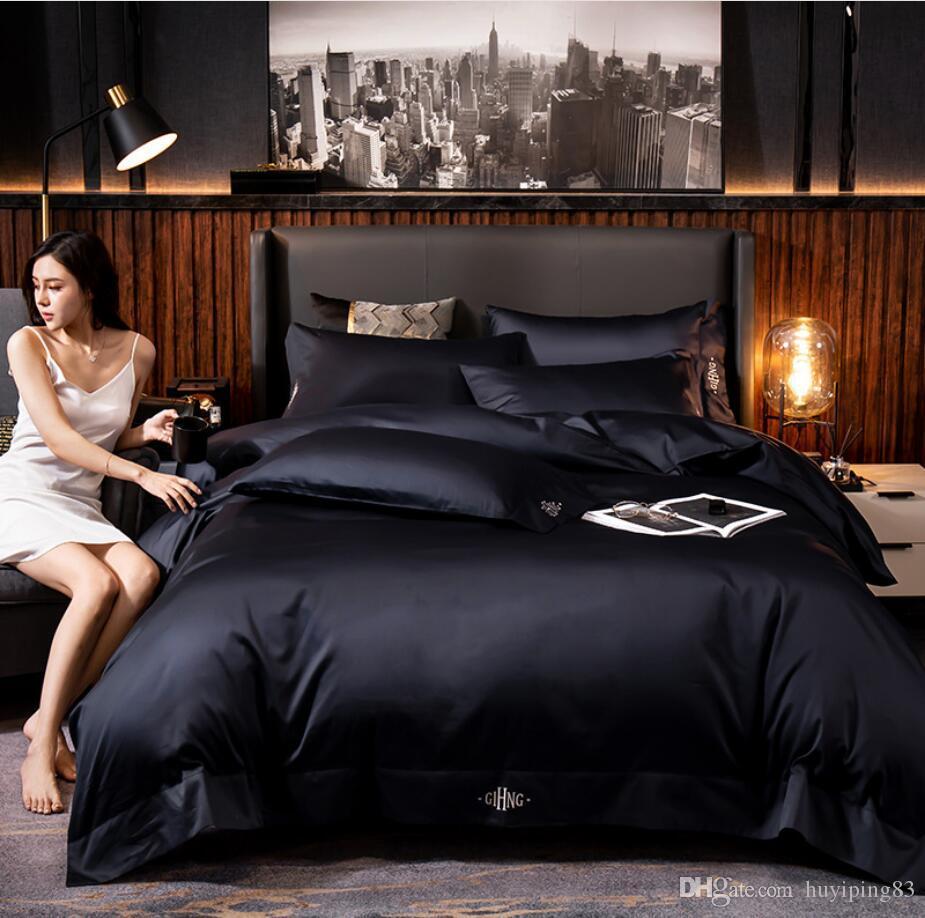 Azul marinho de algodão egípcio Hotel capa de edredão lençol gêmeo ajustado Rainha tamanho king size cor sólida de seda macia Bedclothes roupas de cama conjunto de Luxo
