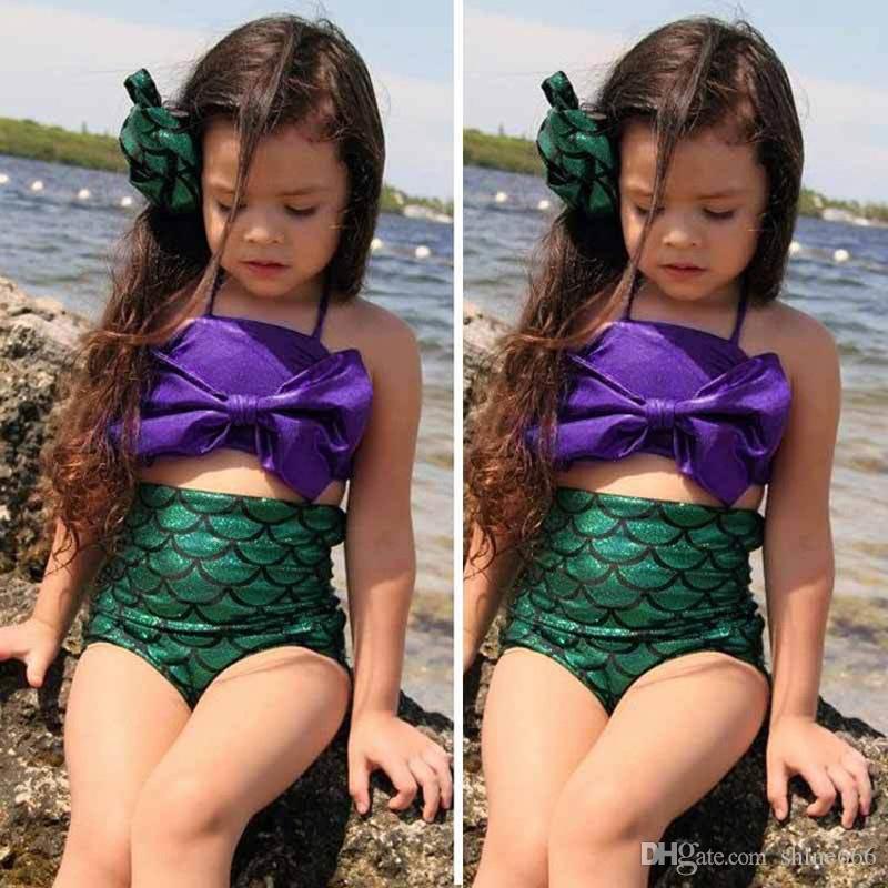 2019 All'ingrosso Estate Ragazze Bella sirena alla ricerca di costumi da bagno ragazze Mermaid Tail Nuotata Nuotata Costume Da Principessa Per Bambini Costume Da Bagno Due Pezzi
