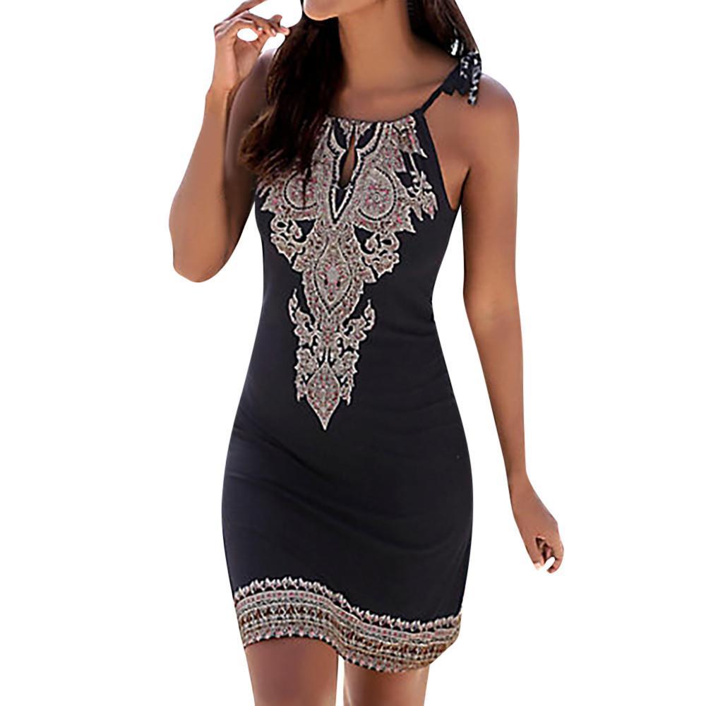 Sommerkleid Frauen Damen Neckholder Boho Print Sleeveless Lässige Mini Beachwear Kleid Sommerkleid # 25
