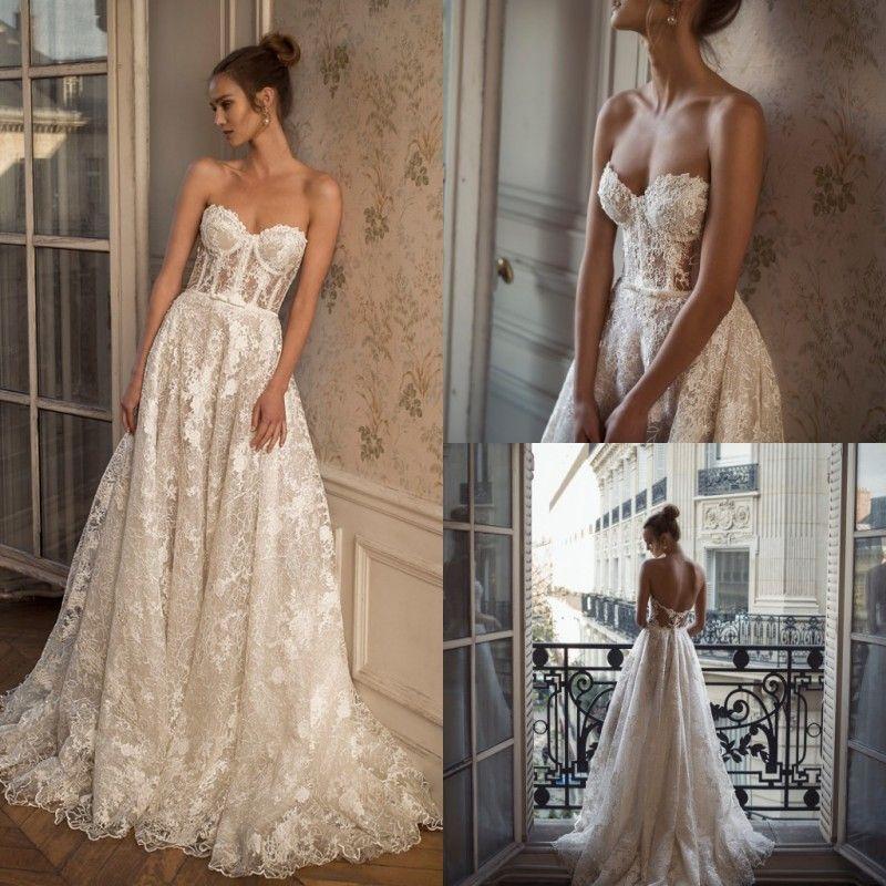 2020 vestidos de casamento queda de uma linha elegante Strapless Lace Applique vestidos de noiva Custom Made Backless Andar Vestidos Comprimento noiva