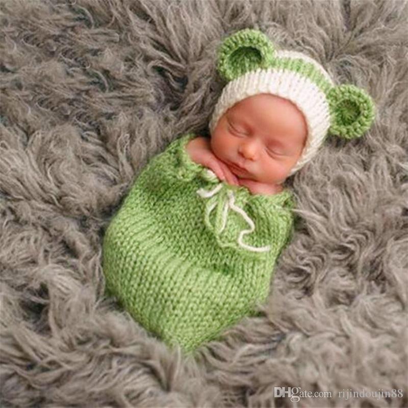 الدعائم الوليد ملابس الرضع طفل التصوير الكروشيه طفل قبعة لطيف القط الزي اطلاق النار طفلة فتى الصور الفوتوغرافية التصوير