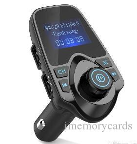 Best selling Bluetooth wireless car Mp3 player hands-free car kit FM transmitter A2DP 5V 2.1A USB charger LCD monitor car FM modulator