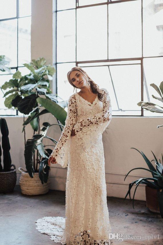 Fildişi Dantel V Yaka Plaj Modest Vintage Uzun Kollu Gelinlik Yeni da sposa Müslüman Gelinlik Gelinlik abito