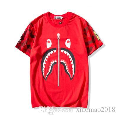 18ss Un baño AAPE hip hop hombre mono diseñador de camisetas de imprimir tiburón oído hombres del algodón de la ropa de las mujeres camisetas causales de Dolce verano