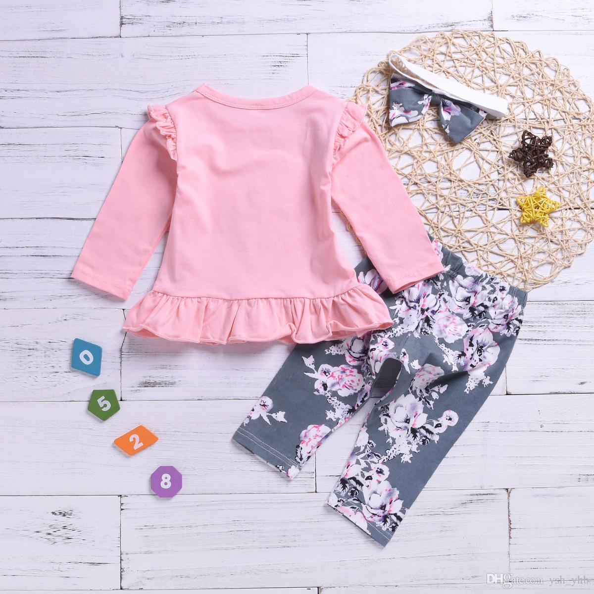8e8fc8ec22138 ... kids designer clothes Toddler Baby Girls Ruffle T-Shirt Tops + Floral  Long Pants Leggings ...