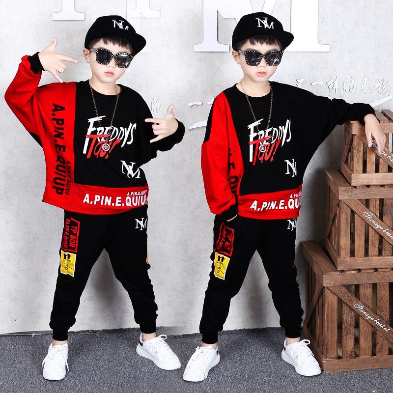 2 sistemas de la ropa de los niños Conjunto de primavera y otoño de los muchachos de la chaqueta de los pantalones ocasionales capa de la manera de Hip Hop de los pantalones del suéter