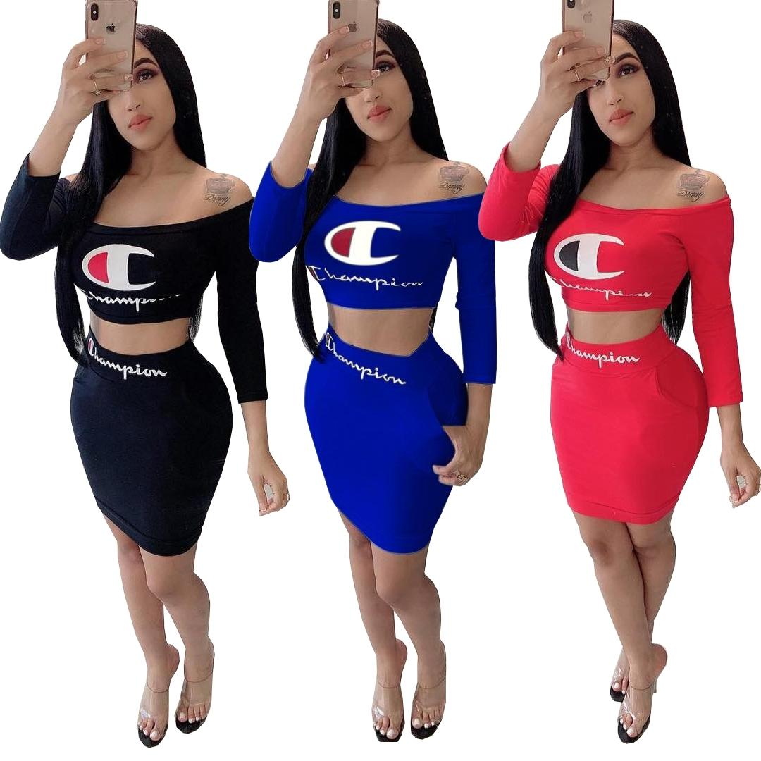 Şampiyonlar Kadınlar İki Adet Elbise Yaz Mektup Baskı Kapalı Omuz 3/4 Kollu Kırpma Üst Mini Cep Etek Setleri Kıyafetler Kırmızı Mavi Siyah