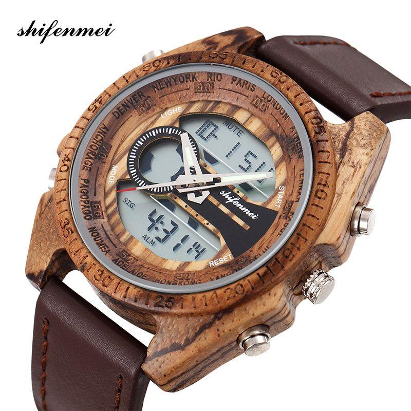 Оптовая 2139-1 Деревянные мужские Часы Цифровые мужские часы LED Двойной дисплей Световой Ручной Деревянный Часы Кожаный браслет Браслет