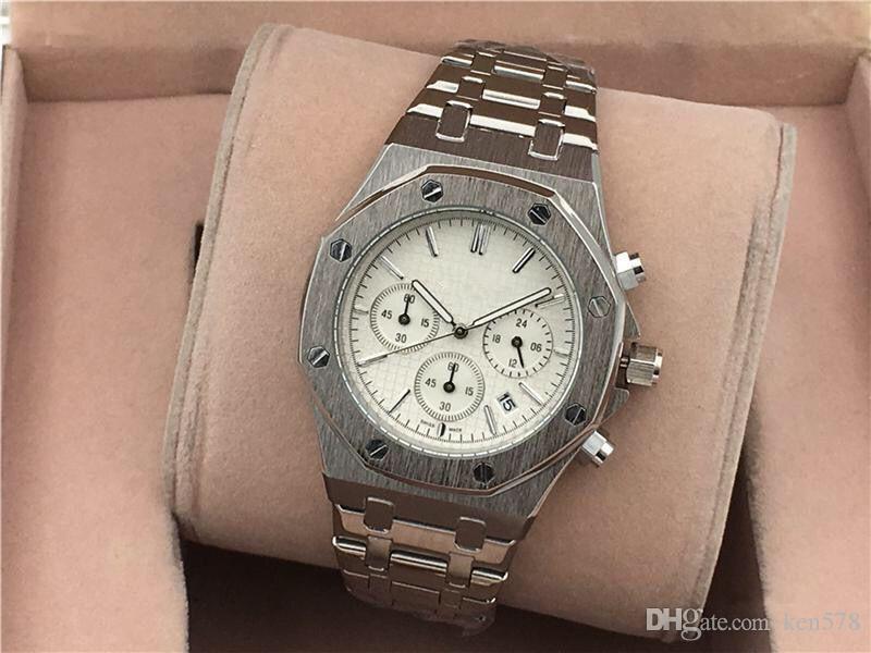 Todos los sub-esferas Trabajo del ocio para hombre Relojes de pulsera de acero inoxidable cuarzo reloj cronómetro relogies del reloj para hombre Relojes Mejor Gift1