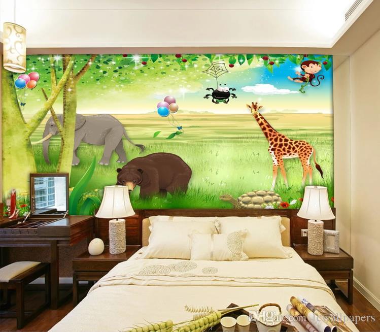 Encargo mural del papel pintado 3D impermeable Hermoso paisaje animales movilización sitio de los niños dormitorio decoración de pared de la foto del papel de empapelar