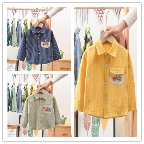 Boy maniche lunghe in cotone Turn-giù il collare a righe T-shirt bambini Primavera Autunno Tops Abbigliamento SYJ 003