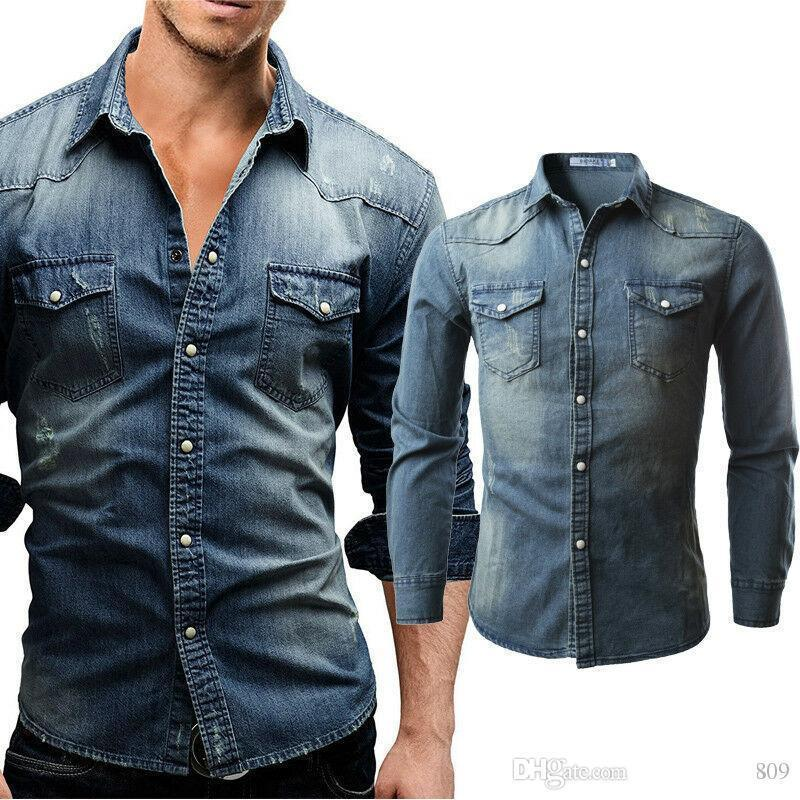 New Men/'s Traditional Denim Shirt with Flap pocket and Snap button from S-XXXL