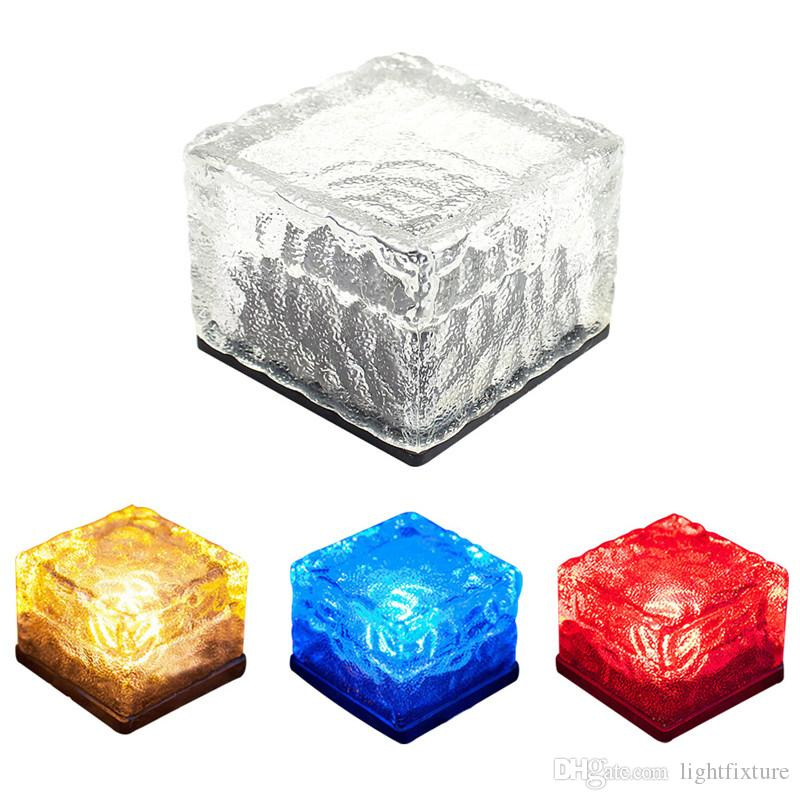 NEW LED Underground Lamp Deck Light Square Yard Ground Light LED Frosted Glass Brick Ice Cube Path Recessed Solar Garden Light