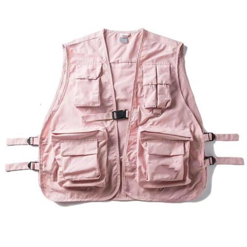 Unisex Pembe Fonksiyonlu Kargo Yelek Gevşek Baghee Toka Tankı Artı boyutu Moda Man Kadınlar