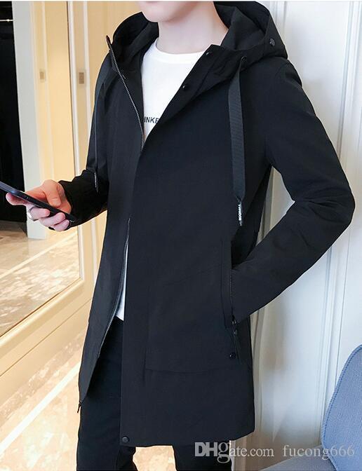 Freies verschiffen 2018 neue männer jacke männer langen mantel männer koreanische beiläufige mode mit kapuze herbst windjacke trend